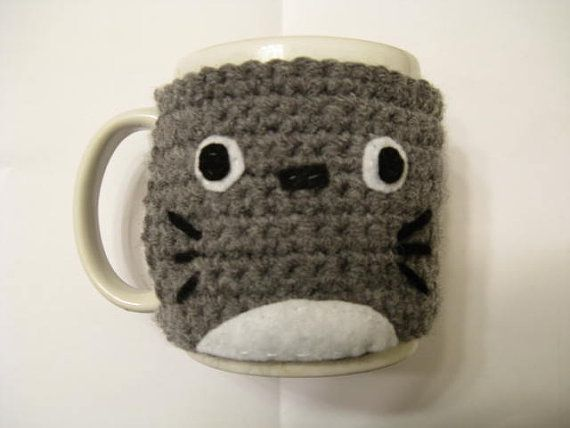 Crochet Totoro Coffee Mug Cozy Crochet Totoro by TheTastefulHooker, $14.00