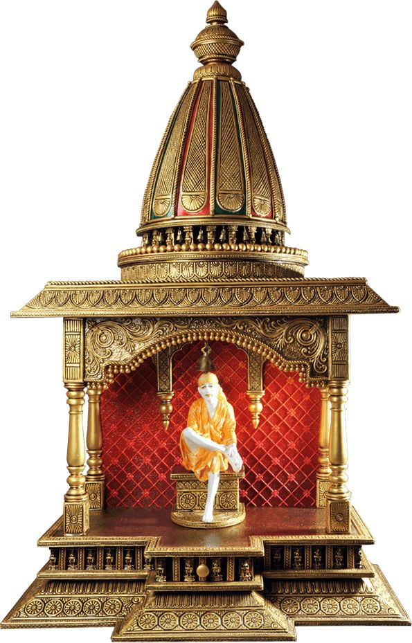Bring Home A Sai Baba Idol Seated In An Extravagantly Designed Wooden Temple.  These Ancient