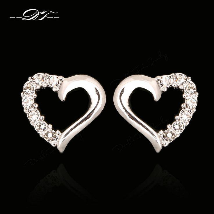 Anti Allergy Love Heart Aaa+Cubic Zirconia Stud Earring Platinum Plated Jewelry