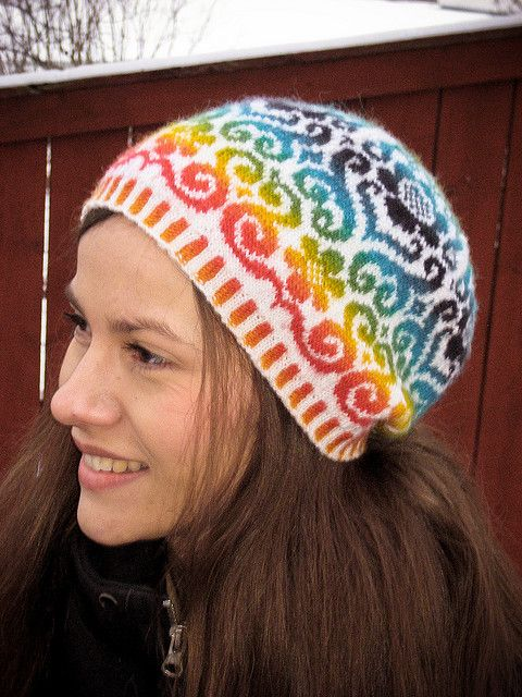Rainbow, color work, knit, hat