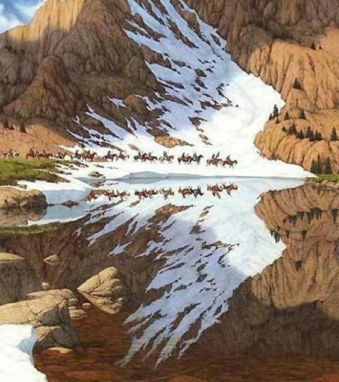 "HOAX - This is not a photo... It is an amazing painting by Bev Doolittle, but is being passed around with the following caption... ""I love this photo. the reflection looks like an eagle flying..."""
