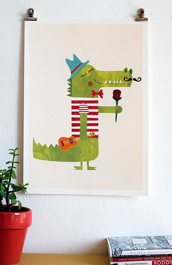 Crocodile Digital Illustration Romantic Print Cute