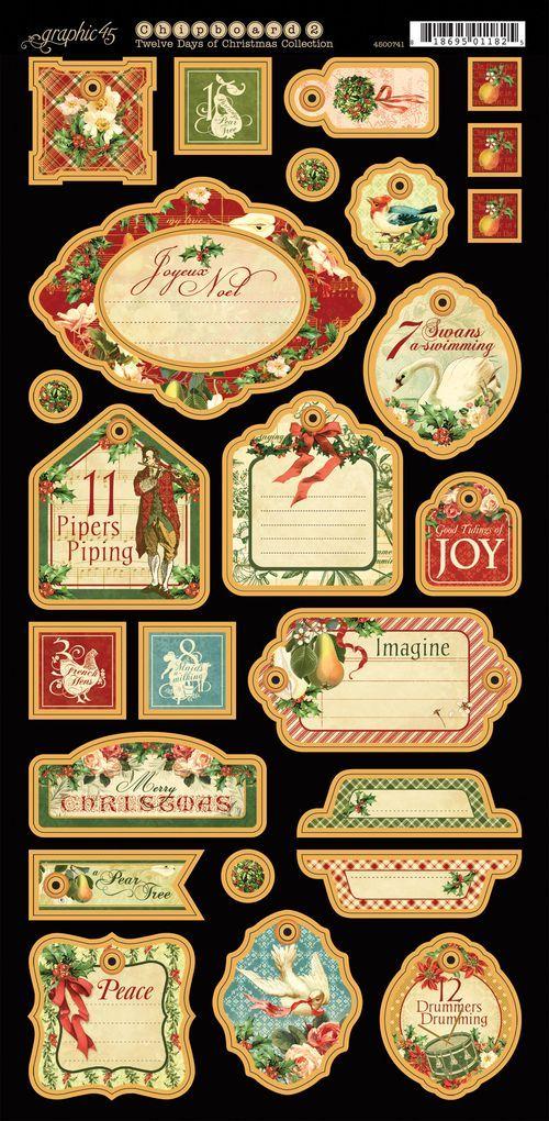 Twelve Days of Christmas Chipboard Die-Cuts 2 #graphic45 #sneakpeeks #christmas
