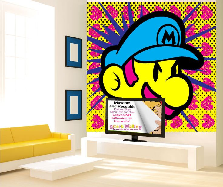 Wall Stickers Designs wall stickers design design wall stickers Pop Art Super Mario Wall Stickers Mural Totally Movable