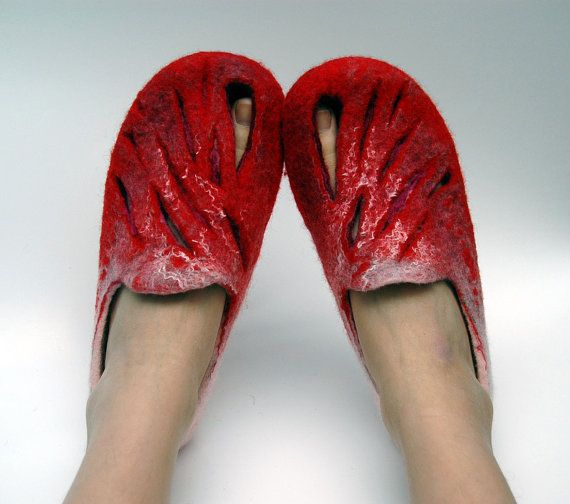 RED RED.  Felted slippers by jurgaZa on Etsy, $65.00