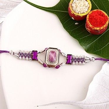 Purple Gemstone Fancy Rakhi rakhi online shopping