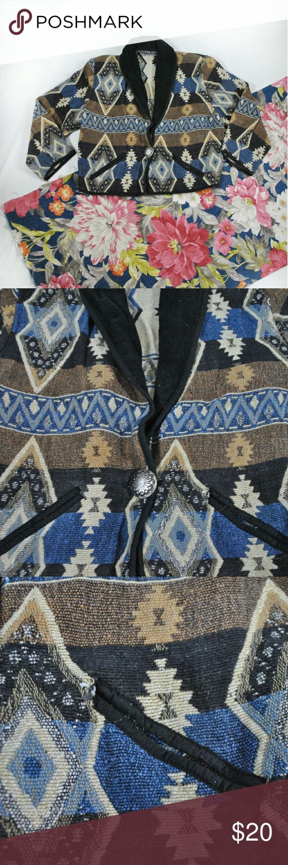 Vintage Southwestern Tapestry Jacket New Direction XL  Previously loved, with no holes or stains but there is some fraying on the pocket edge as shown. Jackets & Coats