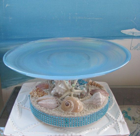 Seashell Wedding Cake PlateCoral Beach Wedding by CeShoreTreasures, $75.00. Love love love this!