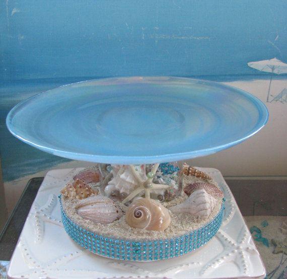 Seashell Wedding Cake PlateCoral Beach Wedding by CeShoreTreasures, $75.00. Love love love this!