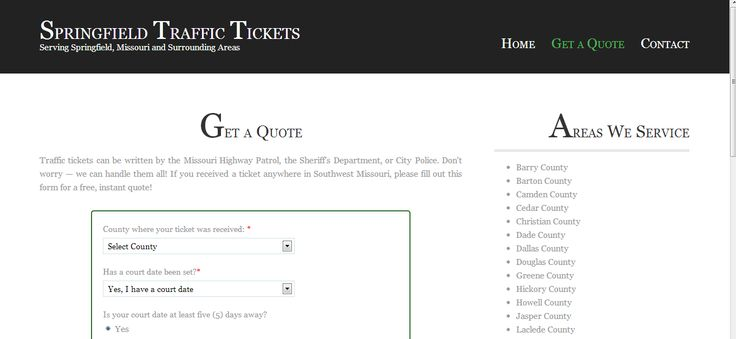 Springfield Traffic Tickets | Request a Quote