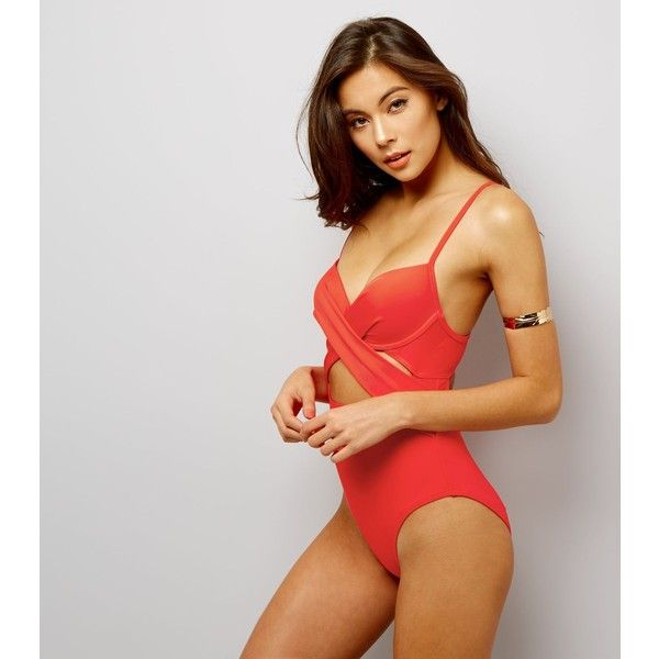 New Look Red Cut Out Wrap Front Swimsuit ($30) ❤ liked on Polyvore featuring swimwear, one-piece swimsuits, red, red bathing suit, cut-out bathing suits, red one piece swimsuit, red swimwear and cut out bathing suit