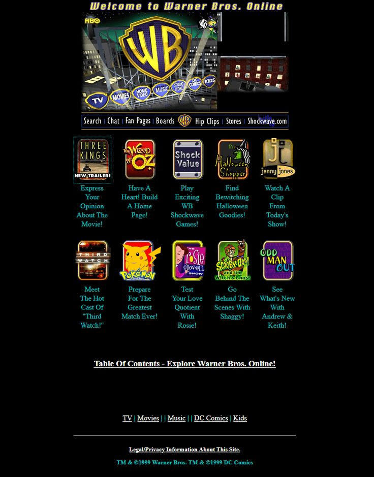 Warner Bros website in 1999