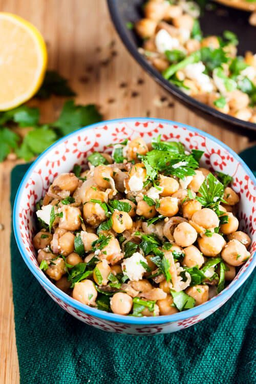 Spiced Chickpeas with Feta and Preserved Lemon ~ http://www.healthy-delicious.com