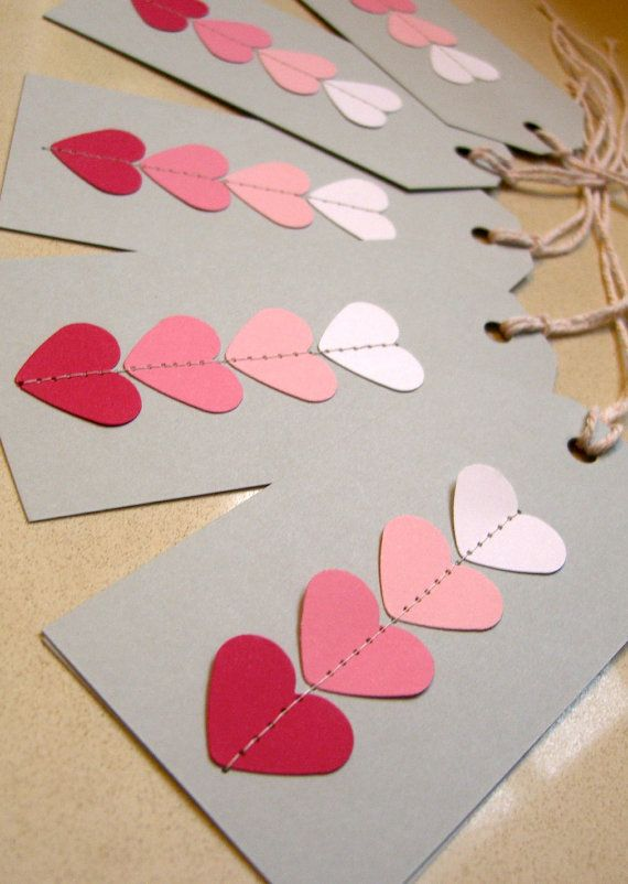Gift Tag on Cardstock  Ombre Pink Stitch my by redelephantcreative, $5.00