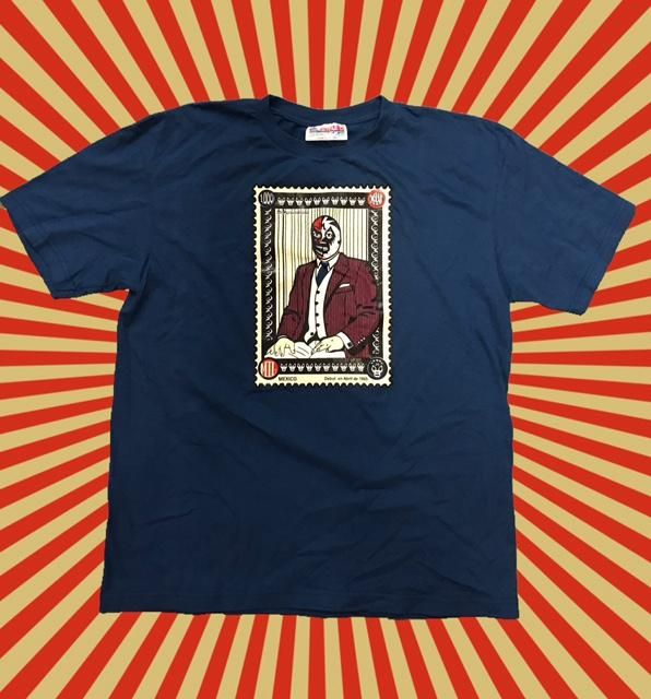 MIL MASCARAS Lucha Libre Short Sleeve T-Shirt - LARGE - Navy