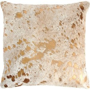 Buy Gold Mettalic Cowhide Pillow by Pergamino - Quick Ship designer Accessories from Dering Hall's collection of Contemporary Pillows.