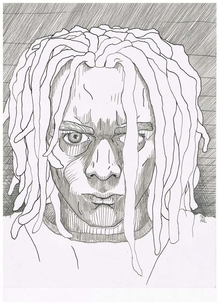 It should be self-portrait, but it doesn't look like me... so it's just a portrait #ink #drawing #portrait