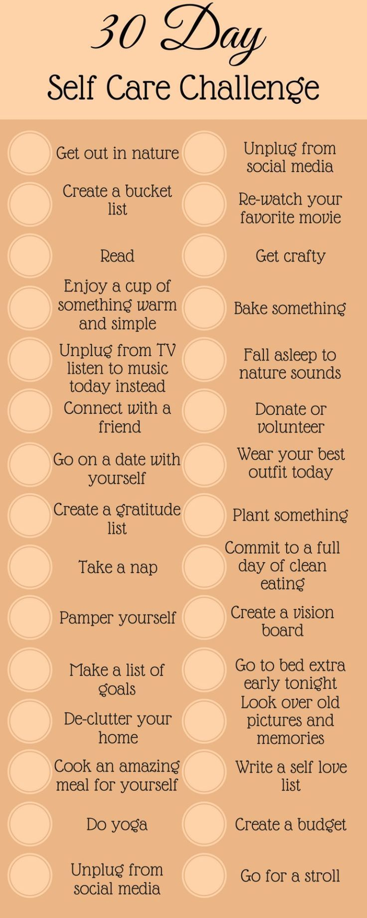 30 Day Self Care Challenge – ScaleitSimple