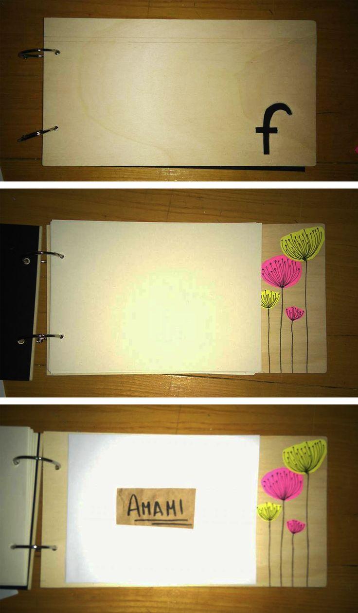 Idea regalo, book fatto a mano con copertina personalizzata,in legno o in altri materiali . I fogli all'interno sono dei semplici A5 intercambiabili in base all'esigenza: disegnare, schizzare, dipingere ad acquerello... In fondo è provvista di una piccola sacca di carta per contenere appunti o schizzi.