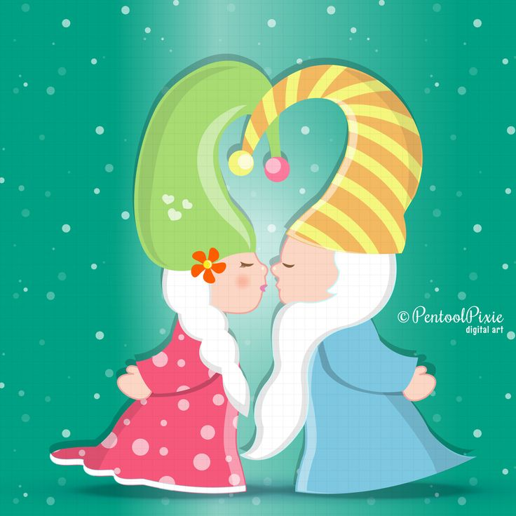 Kissing Gnomes clipart, valentine's day clipart, cute