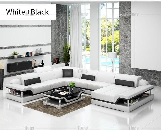 Super Ifuns U Shaped Black Genuine Leather Modern Sectional Sofa Creativecarmelina Interior Chair Design Creativecarmelinacom