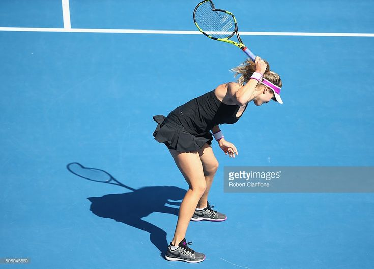Eugenie Bouchard of Canada smashes her racquet in frustration in her semi-final singles match against Dominika Cibulkova of Slovakia during day six of the 2016 Hobart International at the Domain Tennis Centre on January 15, 2016 in Hobart, Australia.