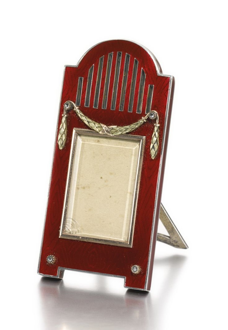 an unusual faberg jewelled and gold mounted enamel frame workmaster michael perchin st - Enamel Picture Frames