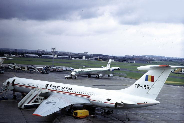 Taken in pre-CDG days Le Bourget still operated as an airport whilst the bi-annual air show took place. Tarom Il-62 YR-IRB is seen from the terrace, on May 31st 1973.