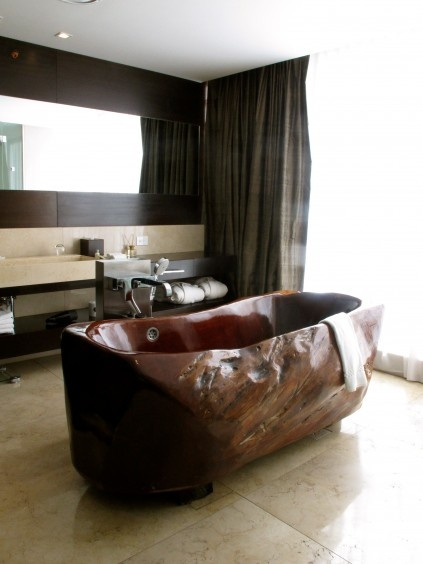 Bathtub carved out of calden wood, Mio Buenos Aires, Argentina