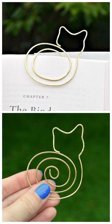 DIY Cat Bookmark Tutorial from One Artsy Mama. Since you are using soft wire this should be quite easy to bend and hammer depending on the look you want. Also, you can make a smaller version for a necklace. For one of the best DIY Wire archives go here. Also check out these very reasonably priced Kitty Wire Earrings for $8 from the Etsy store of DelightfullyTwisted (not a sponsored post).