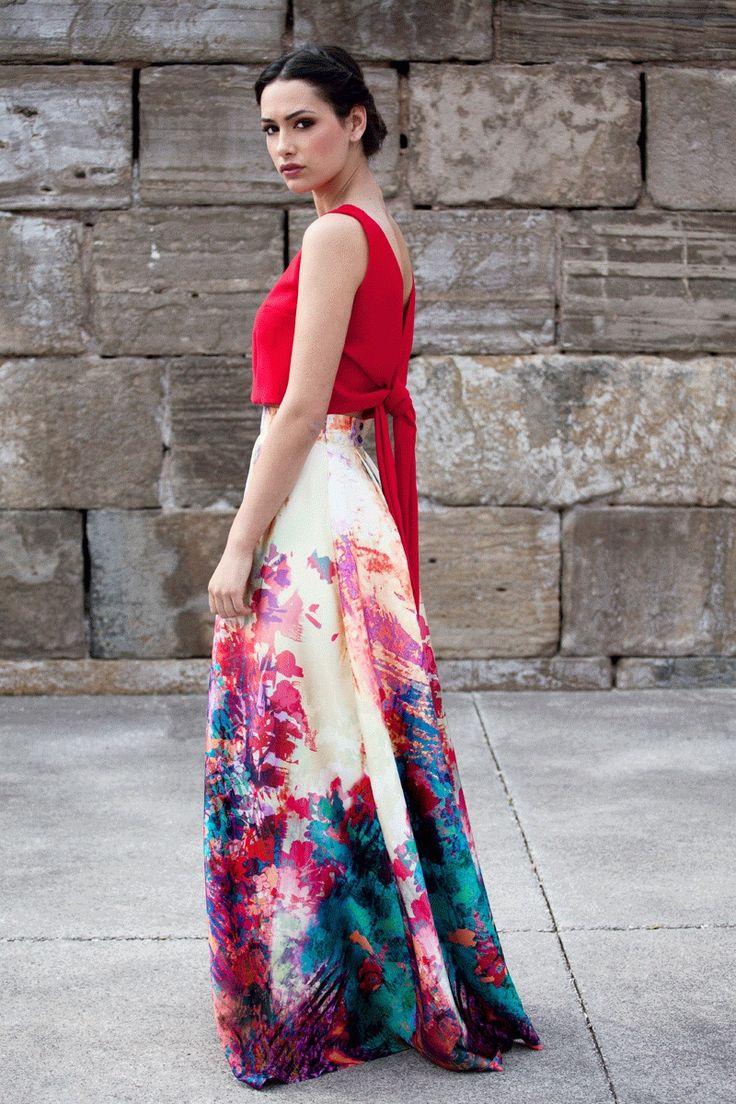 top crop rojo de fiesta con lazada y escote en la espalda para boda fiesta evento bautizo comunion graduacion de primavera verano en apparentia