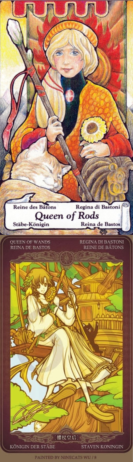Queen of Wands: leader and angry (reverse). Hanson Tarot deck and Oze 69 Watchers Tarot deck: free tarot question, free angel tarot reading and tarot card reading in hindi. Best 2017 magic mirror and playing cards design.