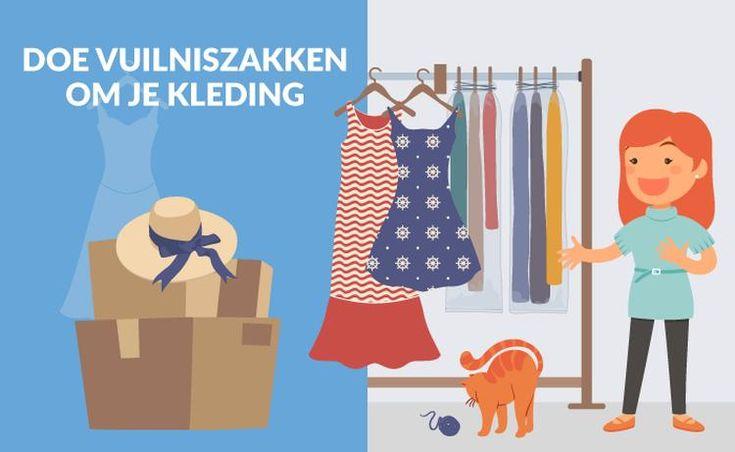 Inpaktip 1: vuilniszakken om je kleding Waarom zou je al je kleding stuk voor stuk uit de kast halen, als het ook veel makkelijker kan? Met een vuilniszak kun je de kledingstukken bij elkaar binden. Zo kun je ze op de hangertjes laten en direct vanuit de kledingkast in de verhuiswagen laden. In je nieuwe huis hang je ze met hetzelfde gemak weer in de kast. #verhuizen #inpakken
