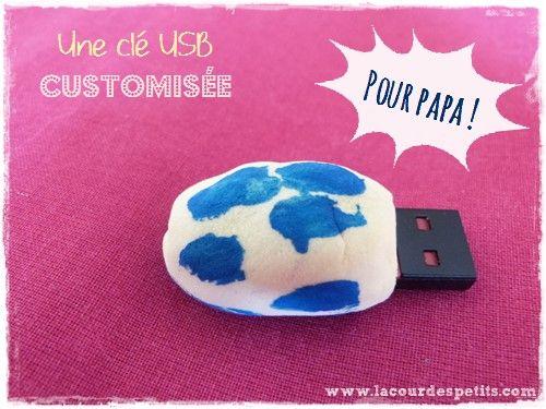 une clé USB customisée, à base de pâte autodurcissante. http://www.lacourdespetits.com/cadeau-fete-des-peres-derniere-minute-cle-usb-customisee/ #fetedesperes #fathersday #USB #DIY  Merci pour le partage !