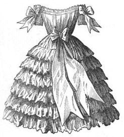 little girl's dress from around 1854. copyright free and in the public domain anywhere that extends copyrights 70 years after death or at least 120 years after publication when the original illustrator is unknown.