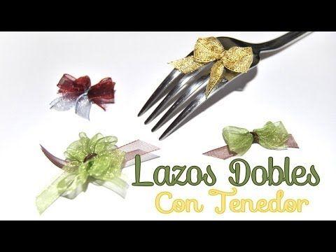 DIY // HTM: Tip como hacer lazos/moños doble pequeños con un tenedor. How to make the single bow using a fork. The smaller the fork, the smaller the bow.....Simple