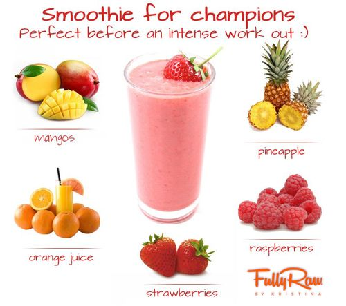 Pre-workout smoothie: mango orange juice pineapple raspberries strawberries  http://eatclean-bhappy.tumblr.com/