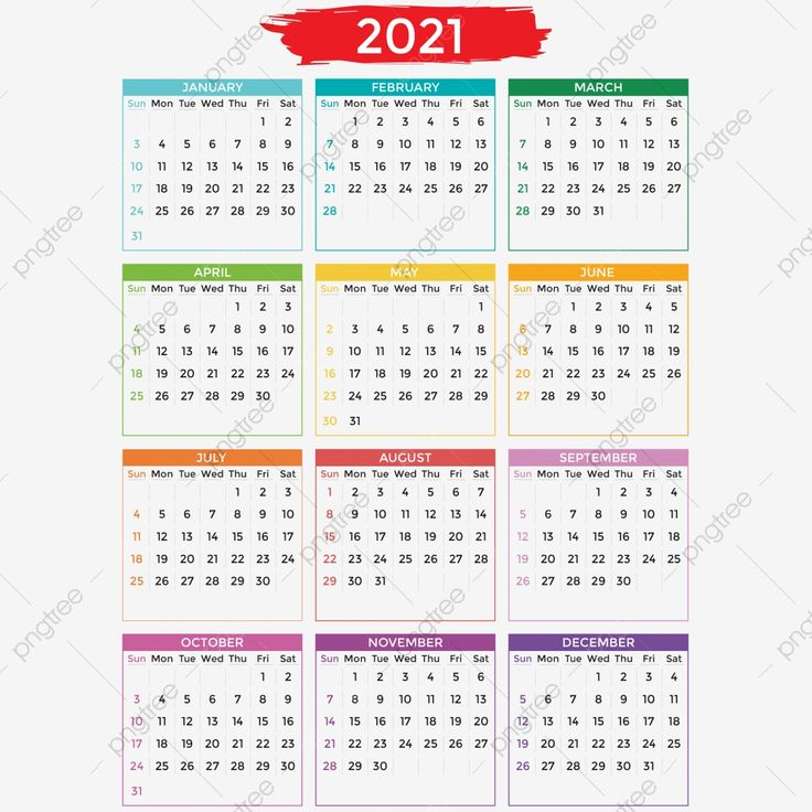 2021 Calendar Design With Verious Color Of Month, 2021 ...