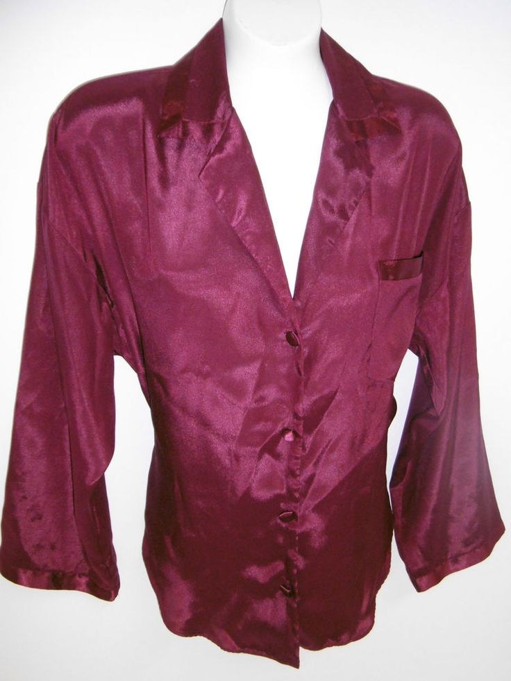 Victoria 39 s secret night shirt woman 39 s extra small maroon for Victoria secret button down shirt
