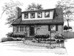 Pen and Ink illustration of brick home. Copyright 2016 Richelle Flecke