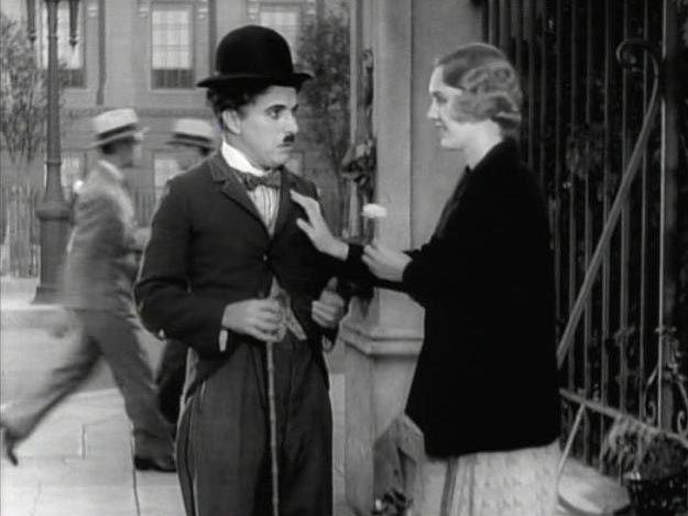 Charlie Chaplin with Virginia Cherril in City Lights.