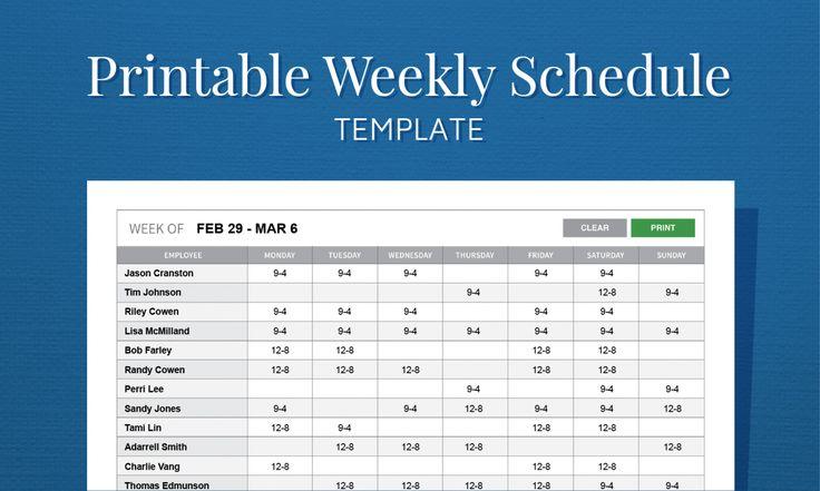 weekly work plan sample