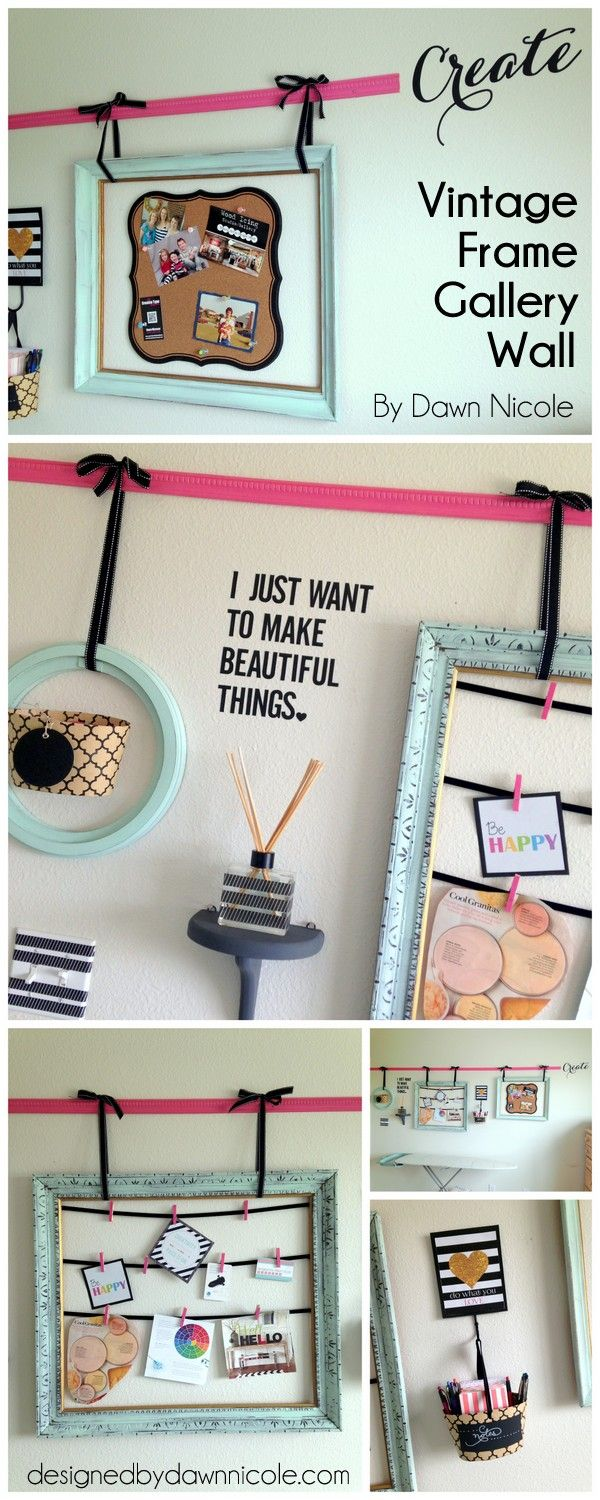 DIY Vintage Frame Gallery Wall. Old frames are inexpensive and so easy to find at consignment shops! #diy #walldecor