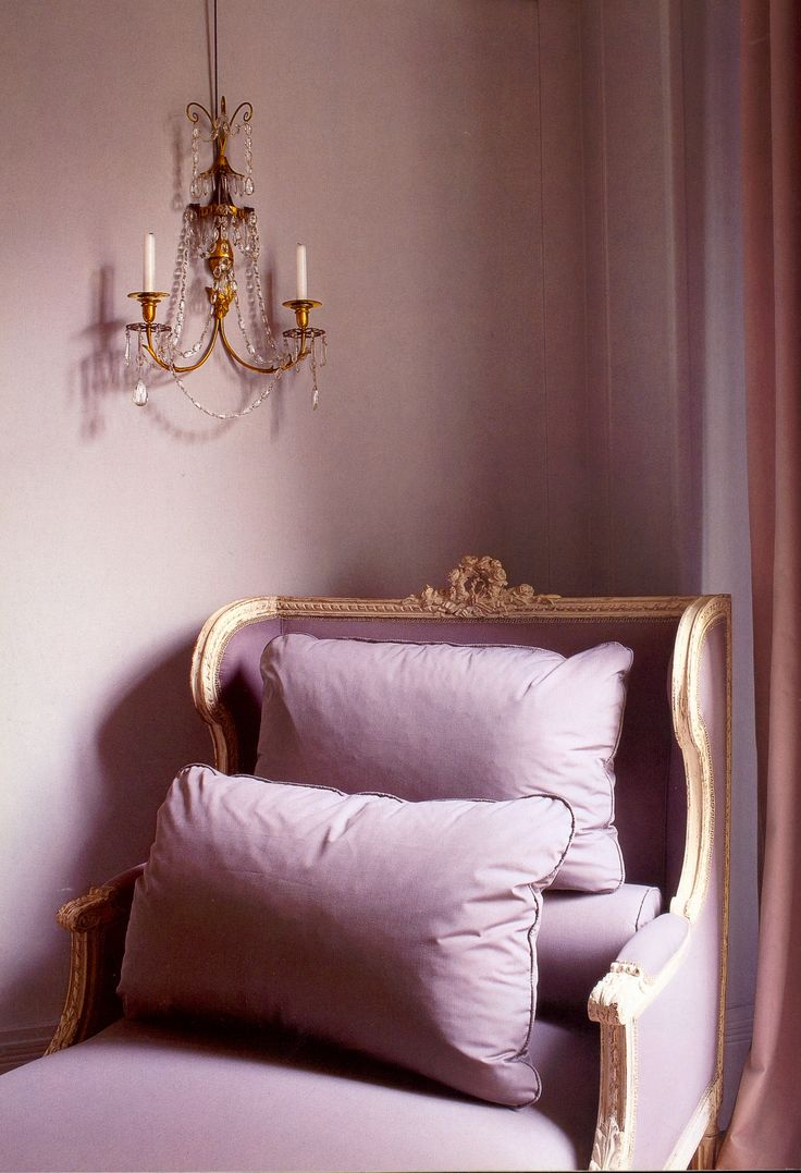 mauve bedroom. this regency style chaise and walls in delicate mauve was featured the book paris fleamarkets bedroom d