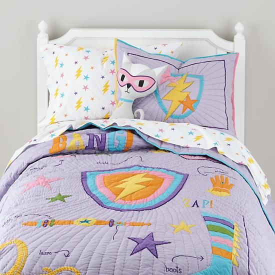 Save the Day Super Girl Kids Quilt   The Land of Nod -- Way more $$ than I want to spend but so cute