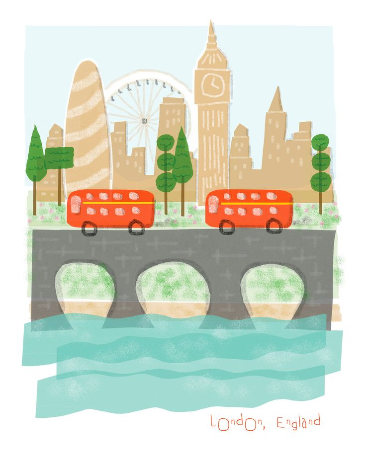 London England art print - 8x10 - big ben city poster illustration wall decor. $14.00, via Etsy.