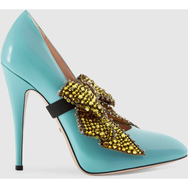 Gucci Leather Pump With Crystal Bow ($1,790) ❤ liked on Polyvore featuring shoes, pumps, heels, light blue, embroidered shoes, light blue pumps, gucci pumps, high heeled footwear and leather shoes