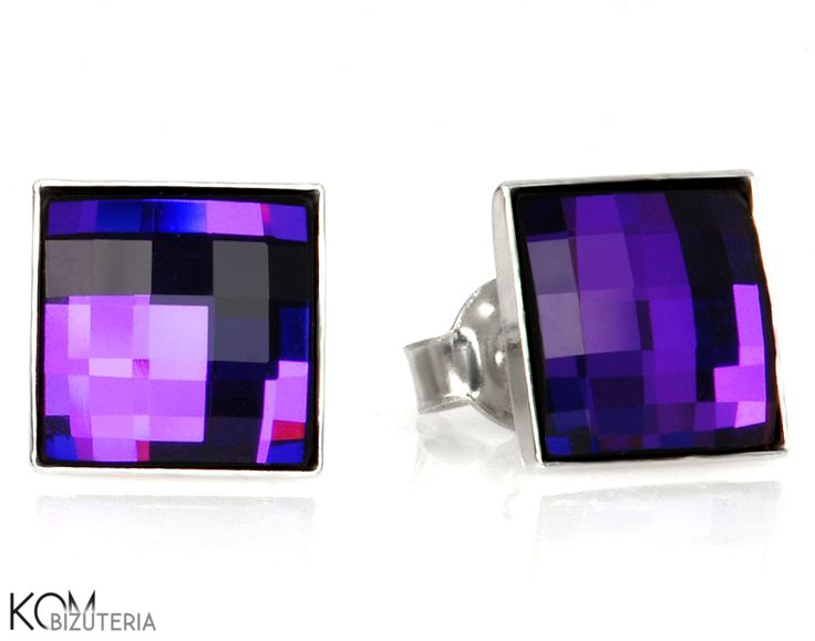 Square - mystic violet - silver stud earrings with Swarovski® crystals. Beautiful silver stud earrings with shiny, square Swarovski® crystals in a mystical, deep violet color that sometimes shines with dark navy blue.