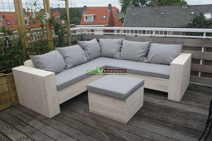 Steigerhouten Lounge Hoekbank gemaakt van onbehandeld Nieuw steigerhout met bijpassend All-Weather kussens kleur: Ash Grey
