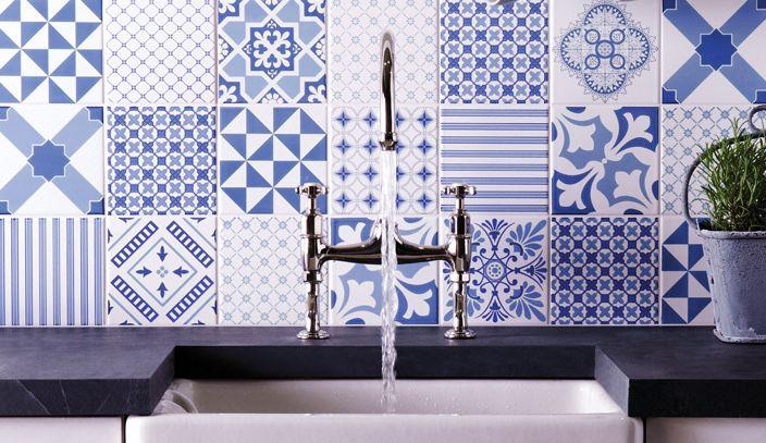 Yorkshire dekorkakelserie i blått och vitt.